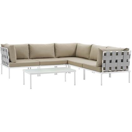 Harmony Collection EEI-2627-WHI-BEI-SET 6-Piece Outdoor Patio Aluminum Sectional Sofa Set with Coffee Table  3 Corner Sofas and 2 Armless Chairs in White and
