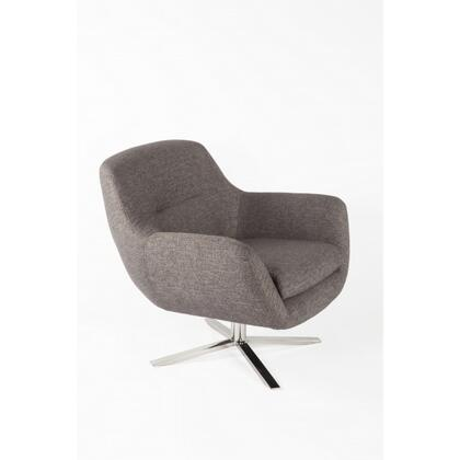 Uge FV362TWBRN Lounge Chair with Stainless Steel Base  Stitched Detailing and Fabric Upholstery in