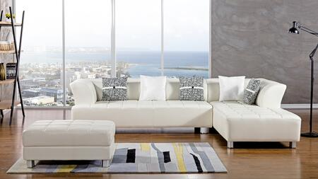 AE-L138 Collection AE-L138L-IV 3-Piece Sectional Sofa with Left Arm Facing Sofa  Right Arm Facing Chaise and Ottoman in