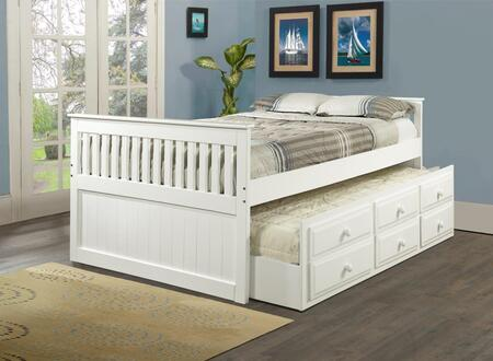 103-FW Full Size Mission Captains Bed with Simple Pulls  3 Drawers and Pull Out Trundle in