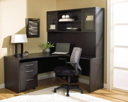 1C100002RES Espresso Corner L Shaped Desk with Hutch and Mobile