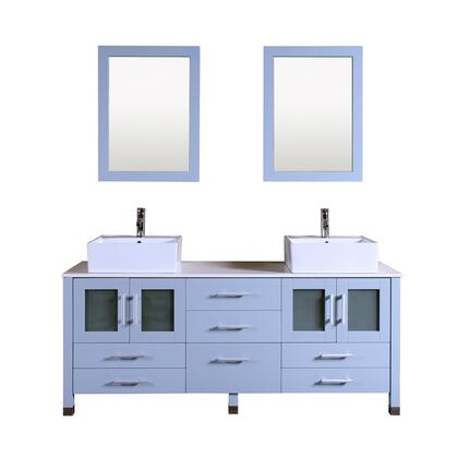 9137-GREY Duma 72 inch  Double Vanity In Blue Grey With Stone Vanity Top In White And