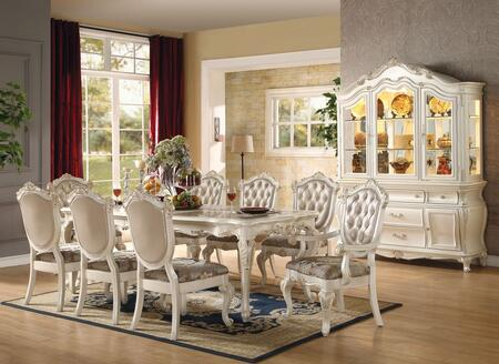 Chantelle Collection 6354010TCCB 10 PC Dining Room Set with Dining Table + 6 Side Chairs + 2 Arm Chairs + China Cabinet in Pearl White