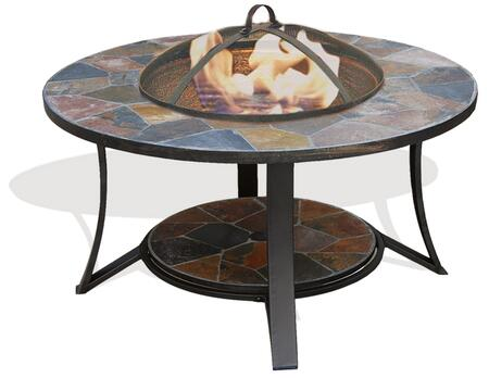 Arizona Sands DM-643610N-IC II 36 inch  Fire Pit Table with Spark Guard Screen  Natural Slate Top and Cast Iron Fire