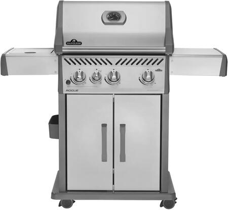 "R425SIBNSS 51"" Rogue 425 SIB Series Freestanding Natural Gas Grill with 625 sq. in. Cooking Surface  3 Stainless Steel Tube Burners  Sizzle Zone Side Burner"