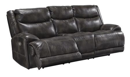 Brinlack Collection 8560215 95 inch  Power Reclining Sofa with Adjustable Headrest  Faux Leather Upholstery and USB Port in