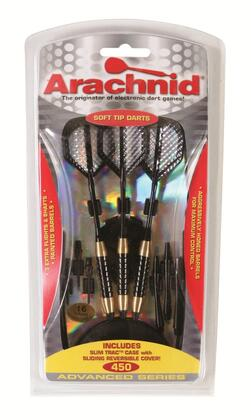SFA450 Soft Dart Set with Six 0.187 inch  Tips  Aggressively Honed  Painted Brass  Barrels  Six Black Aluminum Shafts  Six Embossed See-Through Flights  and