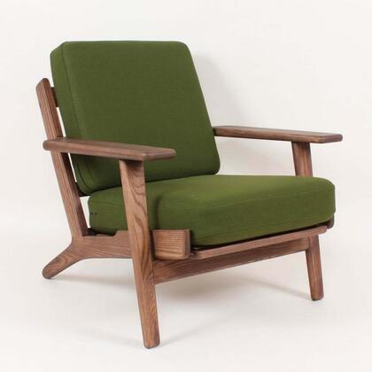 Klum FEC0619GRN Chair with Tapered Legs  Track Arms and Fabric Upholstery in