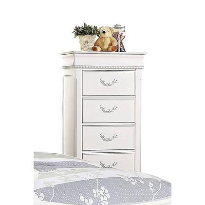 Classique Collection 30132 27 inch  Lingerie Chest with 5 Drawers  Hidden Jewelry Storage  Metal Hardware and Pine Wood Construction in White