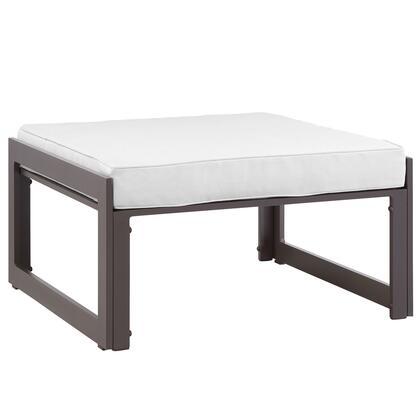 Fortuna Collection EEI-1521-BRN-WHI 30 Outdoor Patio Ottoman with Powder Coated Aluminum Frame Washable Cushion Cover UV and Water Resistant in Brown and