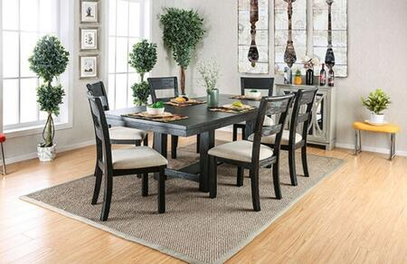 Thomaston I Collection CM3543T6SCSV 8-Piece Dining Room Set with Rectangular Table  6 Side Chairs and Server in Brushed Black
