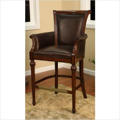 130838 Federico Traditional Bar Stool With Hand Carving  3 Cushion  Web Seating  Bonded Leather  Antique Brass Foot Plate  Floor Glides & In Canyon with