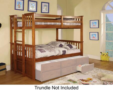 University II Collection CM-BK458T-OAK-BED Twin Size Bunk Bed with Side Access Ladder  13 PC Slats Top and Bottom  Solid Wood and Wood Veneers Construction in