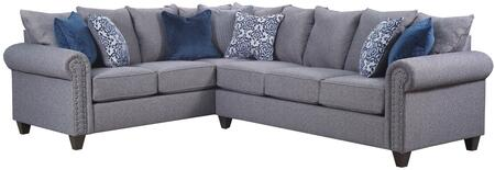 Emma Collection 9175BR-03LB-03R Sectional with Toss Pillows Included  Reversible Seat Cushions  Gunmetal Nailhead Trim  Hardwood Lumber Frame and Fabric
