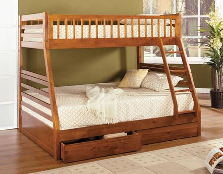 California II Collection CM-BK601A-1and2 Twin Over Full Size Bunk Bed with 2 Drawers Included  10 PC Slats Top and Bottom  Solid Wood and Wood Veneers