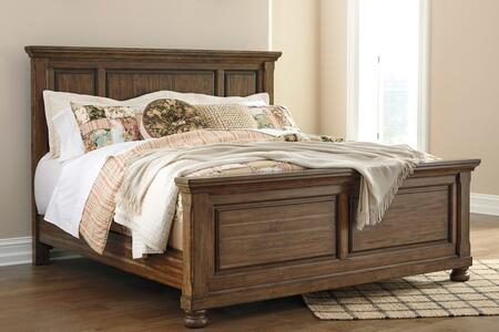 Flynnter Collection B719-58-56-97 King Size Panel Bed with Decorative Molding Details  Short Bun Feet  Acacia Veneers and Hardwood Solid Construction in Medium