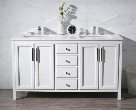 Emily TY-6262-59-QZ 59 inch  Double Sink Vanity with Quartz Vanity Top  4 Soft Closing Drawers and Sleek Chrome Hardware in