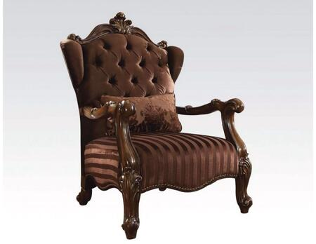 52082 Versailles Living Room Chair with 1 Pillow  Button Tufted Back  Nail Head Trim  Loose Seat Cushion and Brown Velvet Fabric Upholstery in Cherry