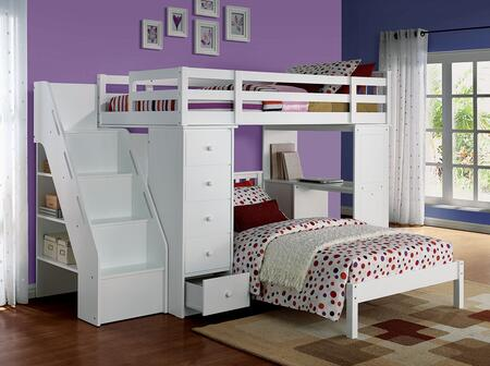 Freya 37145SET 2 PC Bedroom Set with Loft Bed & Bookcase Ladder + Twin Bed in White