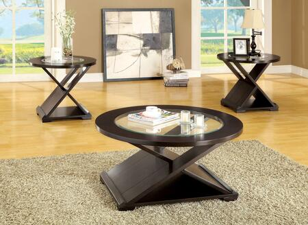 Orbe Collection CM4006-3PK-SET 3-Piece Living Room Table Set with Coffee Table and 2 End Tables in