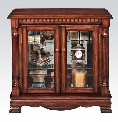 Gilby 91086 32 inch  Curio Cabinet with 2 Glass Doors  2 Glass Shelves  Poplar Wood and Basswood Veneer Materials in Cherry