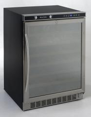 """WCR5403SS 24"""" Wine Cooler with Wooden Shelves on a Pull-Out Roller Assembly  54 Bottle Mirror Glass Door and Electronic Control"""