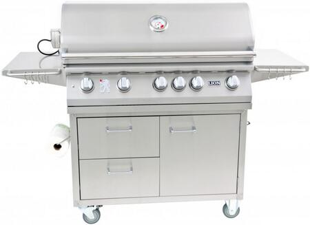 90823KIT L90000 Premium Gourmet Grill with Rotisserie  Smoker Box  Griddle  and Extra Large Temperature Gauge with Matching Cart  in Stainless Steel: Natural