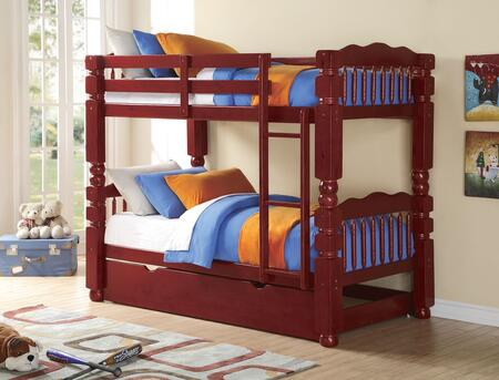 Benji 02570BT 2 PC Bedroom Set with Twin Bunk Bed + Trundle in Cherry