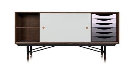 STO-SB-THEORY-WALGRY 1955 Color Theory Mid-Century Modern Sideboard Credenza  Walnut/Grey