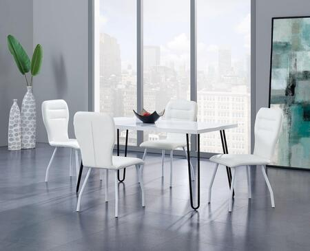 D1661DT4D205DCWH 5-Piece Dining Room Set with Dining Table and 4 Dining Chairs in White and