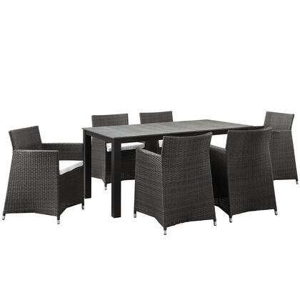 Junction Collection Eei-1748-brn-whi-set 7-piece Outdoor Patio Dining Set With Dining Table And 6 Armchairs In Brown And