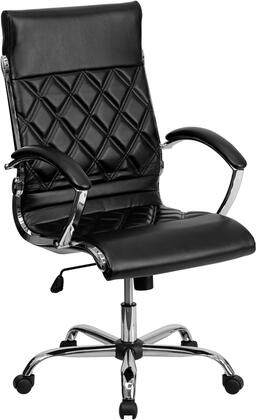 GO-1297H-HIGH-BK-GG High Back Designer Black Leather Executive Office Chair with Chrome
