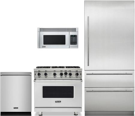 "Viking 4 Piece Kitchen Appliance Package with MVBI7360WRSS 36"" Bottom Freezer Refrigerator  VGIC53626BSS 36"" Gas Range  VMOR506SS 30"" Over the Range"