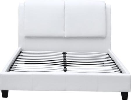 FMI10070-WHITE Queen Sized Bed With Overstuffed Headboard In