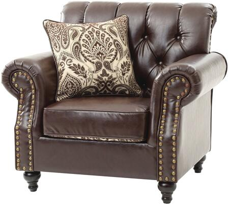 G524-c 43 Armchair With Button Tufted Back  Nailhead Trim  Throw Pillow  Turned Wood Legs  Self Welted Cushions And Bicast Faux Leather Upholstery In Dark