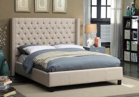 Ashton ASHTONBEIGE-Q Queen Size Upholstered Bed with Deep Detailed Tufting  Chrome Nailheads and Wing Design in