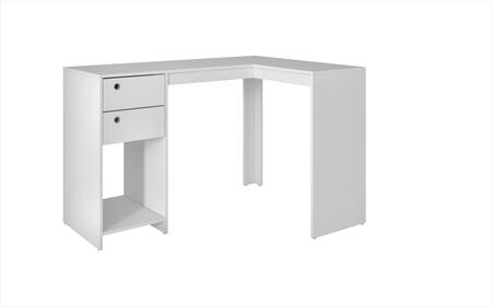 Palermo Collection 41AMC6 50 inch  Classic L-Desk with 2 Drawers  Ring Holes and 1 Open Shelf in