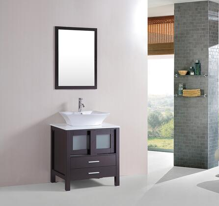 9053 Modern Single Ceramic Sink With Cultured Marble Top Bathroom Vanity Cabinet