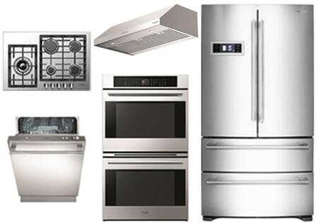 5-Piece Stainless Steel Kitchen Package with FM36CDFDS1 36 inch  French Door Refrigerator  F4GK30S1 30 inch  Gas cooktop  F7DP30S1 30 inch  Range Hood and F7DP30S1 30 inch  Double