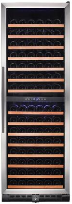 RW428DR 24 inch  Dual Zone Wine Refrigerator with 166 Bottle Capacity  Wood Accented Shelves  Digital Thermostat and UV Protected Double Pane Glass Door with