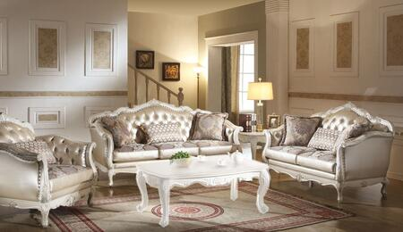 Chantelle 53540SLC 3 PC Living Room Set with Sofa + Loveseat + Chair in Pearl White