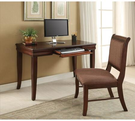 Mahavira Collection 92207 2 PC Desk and Chair Set with Pull-Out Keyboard Tray  Fabric Seat Cushion  Tapered Legs and Solid Hardwood Construction in Cherry