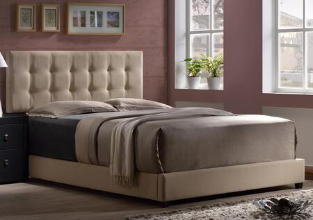 Duggan 1284BQR Queen Sized Bed with Headboard  Footboard and Rails  Tapered Legs and Linen Upholstery in Beige