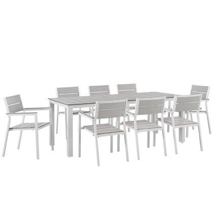Maine Collection EEI-1753-WHI-LGR-SET 9-Piece Outdoor Patio Dining Set with Dining Table and 8 Armchairs in in White and Light