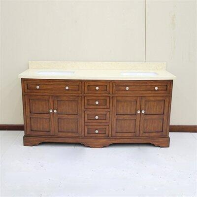 WF6814-72/DC Double Sinks Wood Vanity With Marble Top and