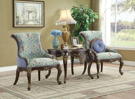 Ameena Collection 50845SET 3 PC Living Room Set with 2 Accent Chairs and Square Shaped End Table in Espresso
