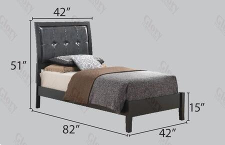 G1250atb Twin Size Bed With Padded Headboard  Wood Frame And Tapered Legs In