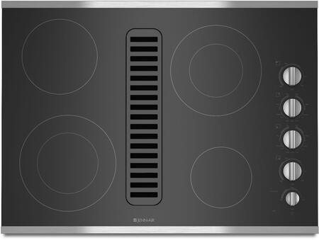 JED3430WS 30 inch  Electric Radiant Downdraft Cooktop with 4 Elements  Ceramic Glass Surface  475 CFM Blower  and Hot Surface Indicator Light  in Stainless