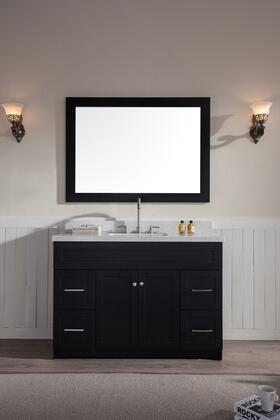 F049SWQBLK Ariel Hamlet 49 inch  Single Sink Vanity Set with White Quartz  Two Doors and Four Drawers in