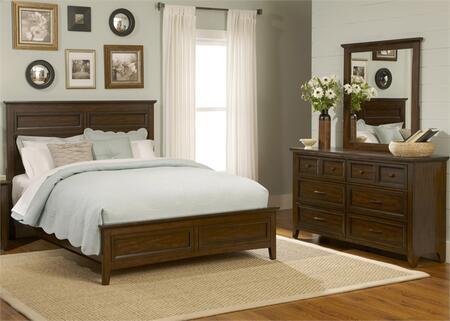 Laurel Creek Collection 461-BR-KPBDM 3-Piece Bedroom Set with King Panel Bed  Dresser and Mirror in Cinnamon